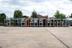 Vieilles cabines de téléphone de vintage coloré mou de foyer Photo libre de droits