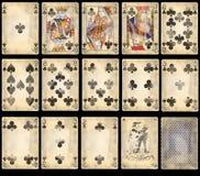 Vieilles cartes de jeu de tisonnier - clubs Image stock