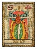 Vieilles cartes de tarot Pleine plate-forme justice illustration de vecteur