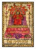 Vieilles cartes de tarot Pleine plate-forme L'empereur illustration stock