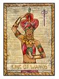 Vieilles cartes de tarot Pleine plate-forme Roi des baguettes magiques illustration de vecteur