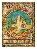 Vieilles cartes de tarot Pleine plate-forme Roue de la fortune illustration stock