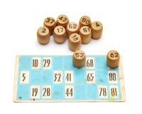Vieilles cartes et numéros de bingo-test Photos libres de droits