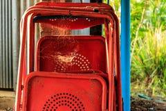 Vieilles chaises de fer Photographie stock