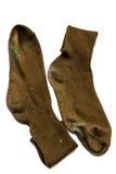 Vieille Brown chaussette de deux photo libre de droits