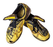 Vieilles chaussures du football Photos stock