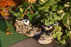 Vieilles chaussures utilisées comme pots de fleur Photo stock