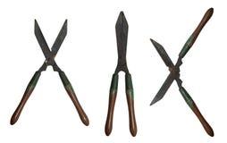 Vieilles cisailles tenues dans la main d'outils 4 arbustes d'arbres Photos libres de droits