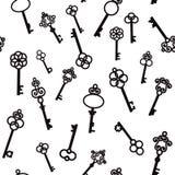 Vieilles clés avec les éléments décoratifs dans le rétro style illustration stock