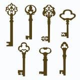 Vieilles clés découpées réglées de porte Images libres de droits