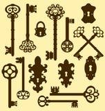 Vieilles clés réglées dans le rétro style Photos stock