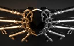 Vieilles clés sur un porte-clés Images libres de droits