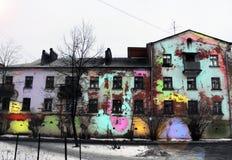 Vieilles couleurs peintes à la maison illustration stock