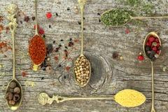 Vieilles cuillères avec des épices Image stock