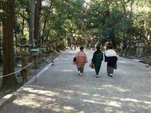 Vieilles dames dans la marche de kimono photo stock