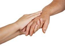 Vieilles et jeunes mains image libre de droits