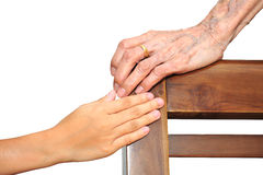 Vieilles et jeunes mains Images libres de droits