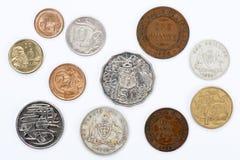 Vieilles et neuves pièces de monnaie australiennes Photographie stock