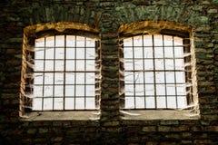 Vieilles fenêtres avec des barres Image libre de droits