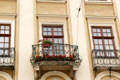 Vieilles fenêtres de décoration architecturale, style de vintage, un élément protecteur des fenêtres, détail intéressant Images stock