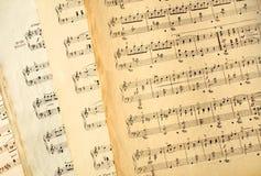 Vieilles feuilles de musique véritables. images libres de droits