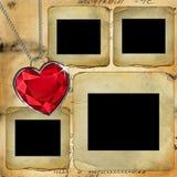 Vieilles glissières pour la photo avec le diamant rouge illustration stock