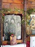 Vieilles icônes, église grecque d'île Photos libres de droits