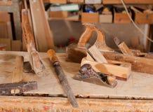 Vieilles jauges d'inscription pour le charpentier Image stock
