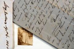 Vieilles lettres avec l'écriture de séquence type Image stock