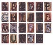 Vieilles lettres en bois d'alphabet Photos stock
