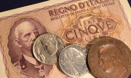 Vieilles Lires italiennes d'argent Photo stock