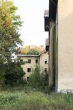 Vieilles maisons détruites avec des arbres s'élevant par son toit Image stock