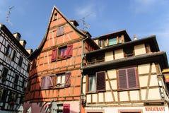 Vieilles maisons d'appartement caractéristiques, Strasbourg, France Photographie stock