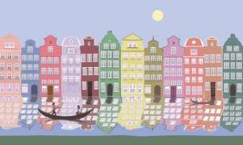 Vieilles maisons d'Europe à la berge Photo stock