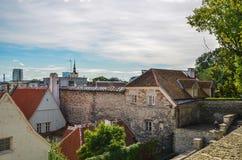 Vieilles maisons dans la vieille ville de Tallinn Image stock
