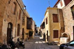 Vieilles maisons en Rhodes Photos stock