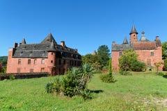 Vieilles maisons françaises traditionnelles dans le fard à joues de La de Collonges Image libre de droits