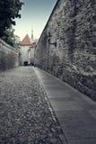 Vieilles maisons sur les vieilles rues de ville tallinn L'Estonie, Image libre de droits