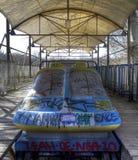 Vieilles montagnes russes dans Spreepark Photographie stock libre de droits