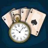 Vieilles montre de poche et cartes de jouer Photographie stock libre de droits