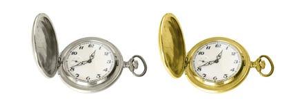 Vieilles montres de poche d'argent et d'or Images stock