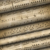 Vieilles notes musicales de roulis images libres de droits