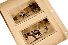 Vieilles page d'album/mule d'hommes Photos stock
