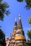Vieilles pagodas chez Ayuttaya Thaïlande Images stock