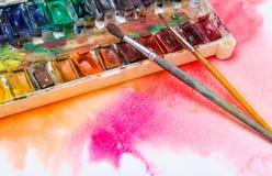 Vieilles peintures professionnelles d'aquarelle Photos stock