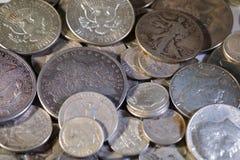 Vieilles pièces de monnaie américaines argentées Photo libre de droits