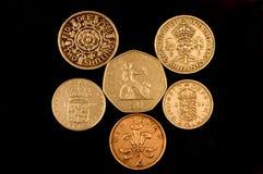 Vieilles pièces de monnaie anglaises Image libre de droits