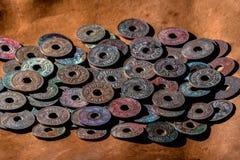 Vieilles pièces de monnaie antiques de la Thaïlande Image libre de droits
