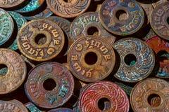 Vieilles pièces de monnaie antiques de la Thaïlande Image stock