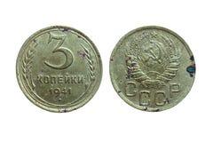 Vieilles pièces de monnaie d'Union Soviétique Russie communiste 3 kopeks 1941 Photographie stock libre de droits